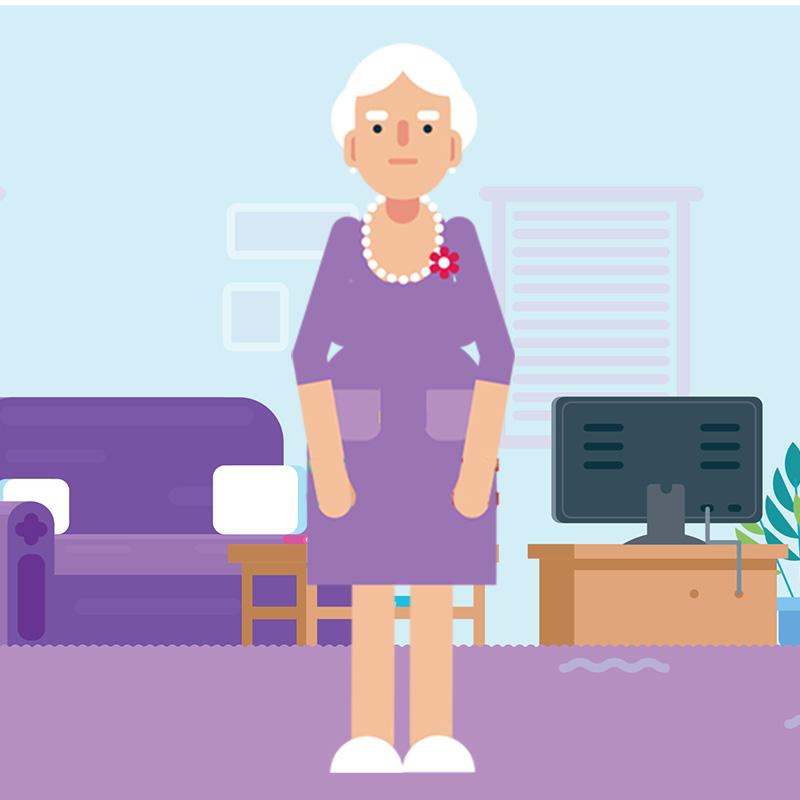 Older woman standing in her living room. In cartoon style.
