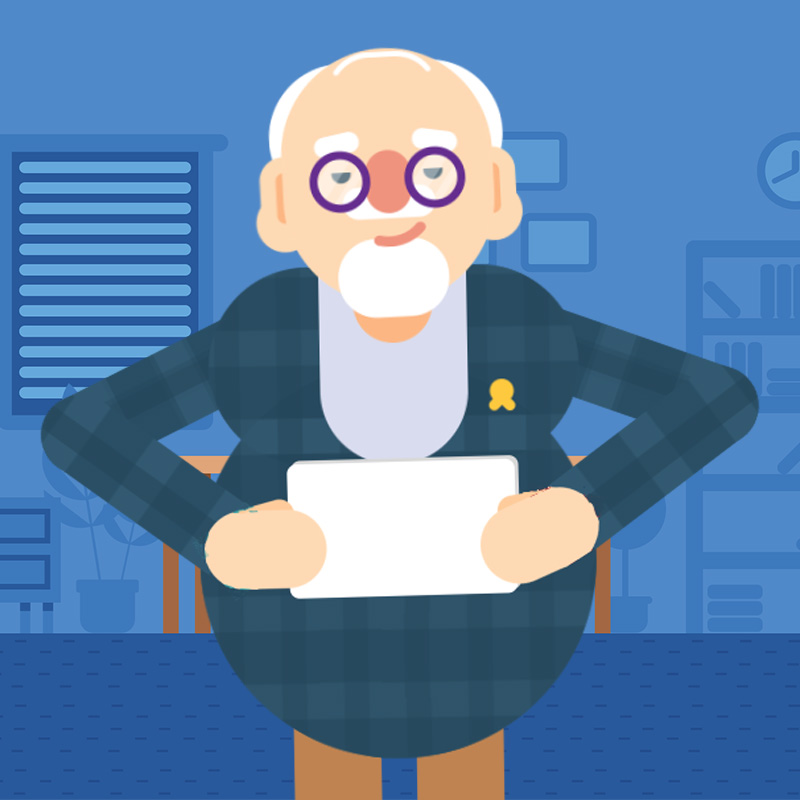 Older man holding a document in cartoon style.